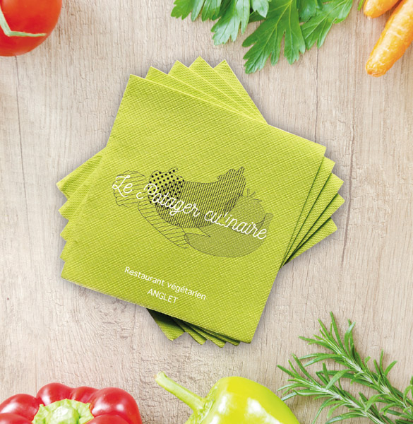 Serviette en papier verte, impression 2 couleurs