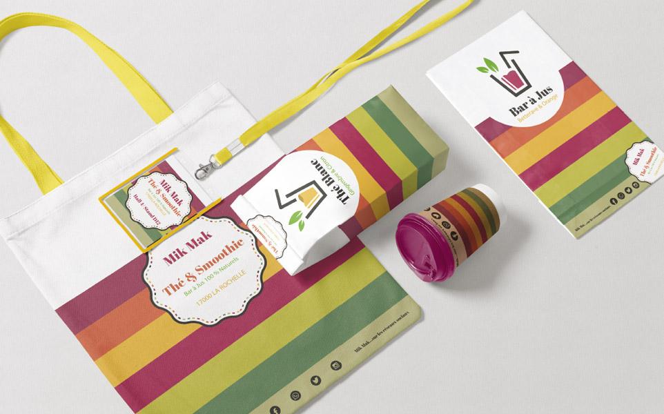 Gamme de supports de communication : sac, pochette, gobelet, étiquette, menu...