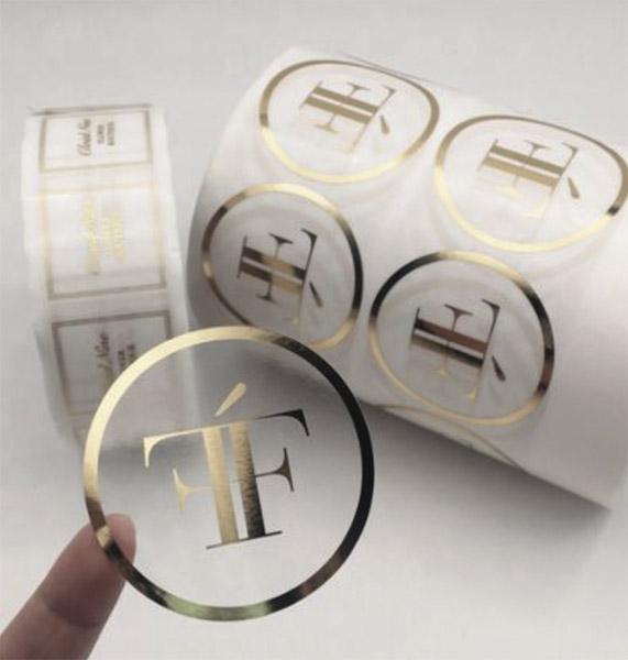 Étiquette ronde adhésive, marquage à chaud or