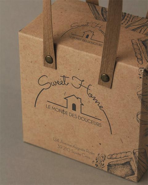 Sac boîte en Kraft recyclé, anses en papier ligné à rivets, impression 1 couleur avec trame